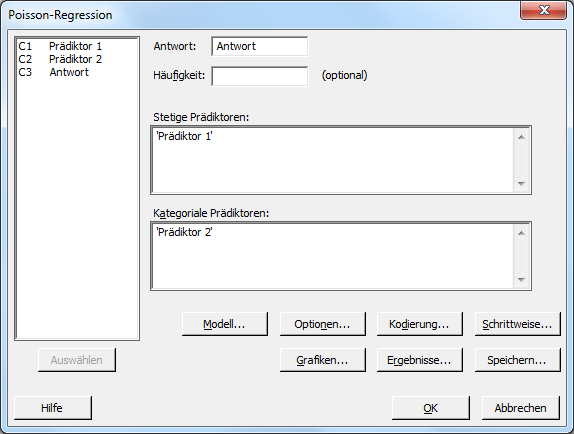 Dialog zur Poisson-Regression