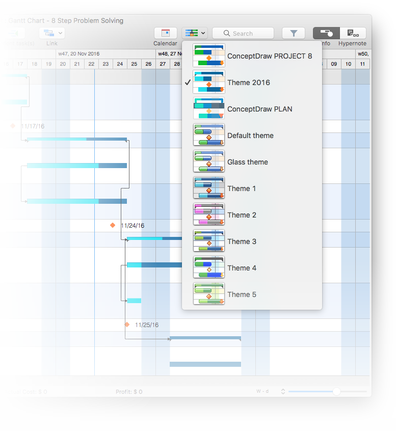 Neue eingebettete Themes in ConceptDraw PROJECT 8
