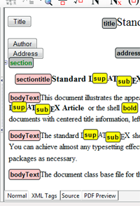 Anzeige eines Dokuments mit XML-Tags in Scientific Workplace Version, Scientific Notebook und Scientific Word 6