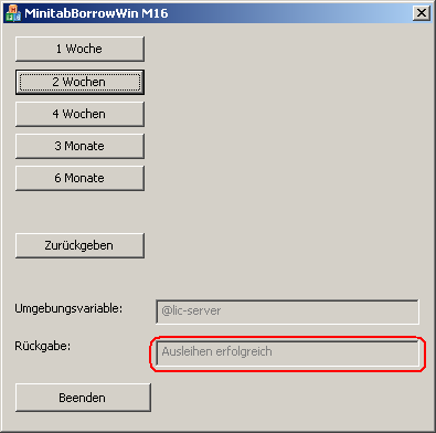 Oberfläche des ADDITIVE Minitab Borrowing Tools
