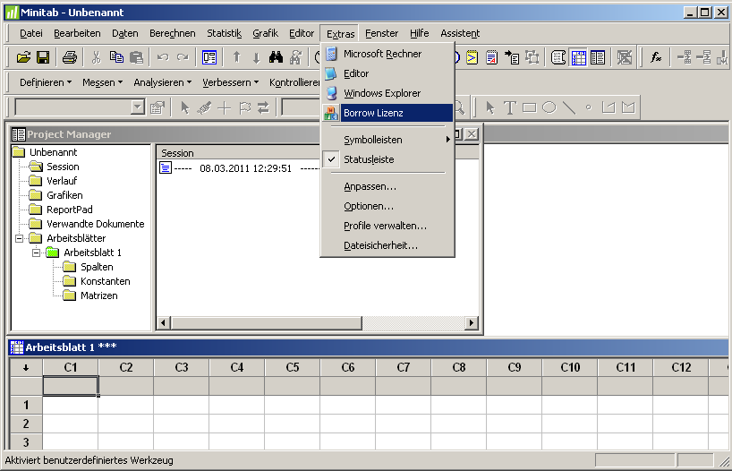 Integration des ADDITIVE Minitab Borrowing Tools in das Menü