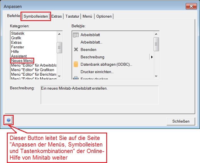 Minitab 18, 17 - Erstellen eines Hauptmenü-Befehls für Minitab