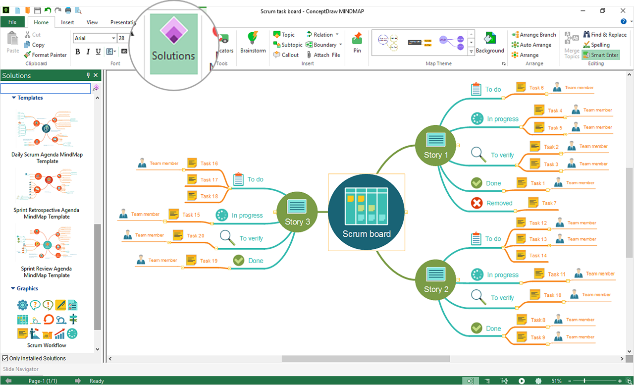 Solutions Panel in ConceptDraw MINDMAP 11