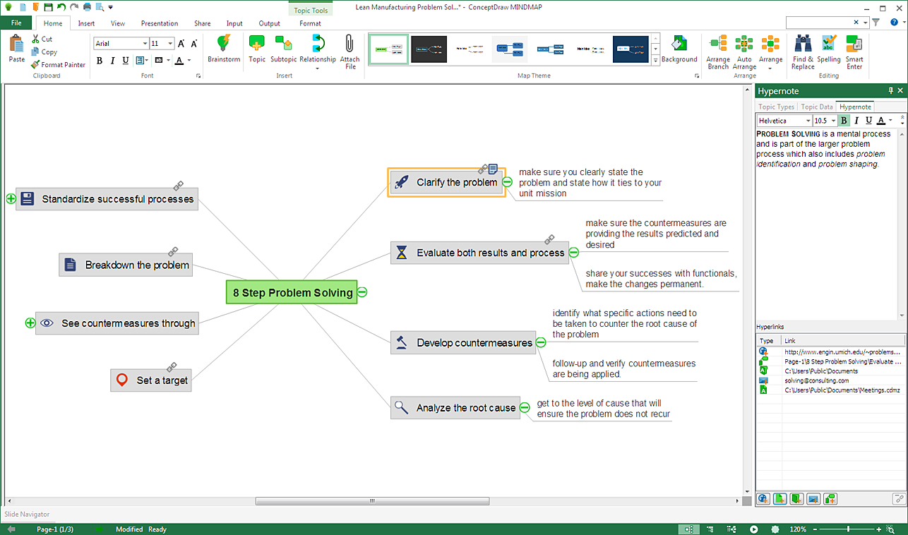 Neues Hypernote Panel in ConceptDraw MINDMAP 9