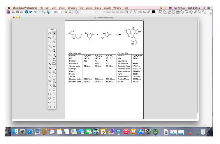 ChemDraw Professional: Reaktions-Stöchiometrie-Tool auf MacOS 10.10 (Yosemite).